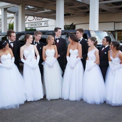 Debutantes arriving at their presentation ball
